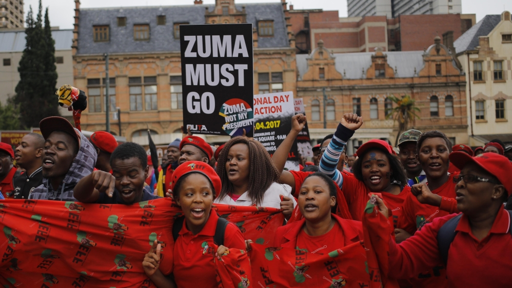 Thousands of demonstrators gather near Union Buildings in Pretoria to demand country's president to step down.