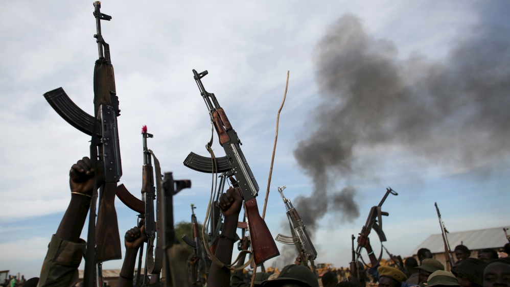 Violence in eastern South Sudan forces 60 aid workers to flee as new battles erupt in the northwestern town of Raga.