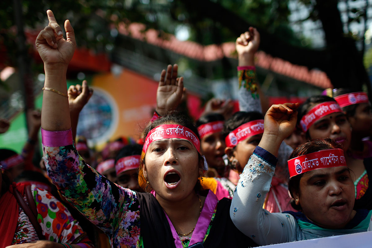 May 1 is celebrated as the International Labour Day or May Day across the world. Here, garment workers shout slogans as they participate in a rally in Dhaka, the capital of Bangladesh.  [A.M. Ahad/AP Photo]