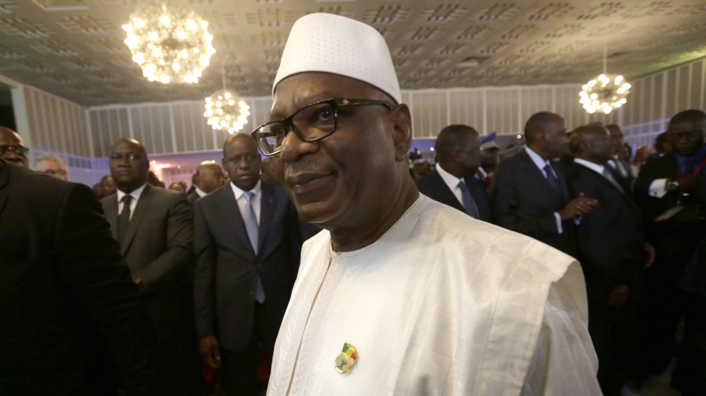 Ibrahim Boubacar Keita praises role of French troops in West African country beset by violence and ethnic strife.