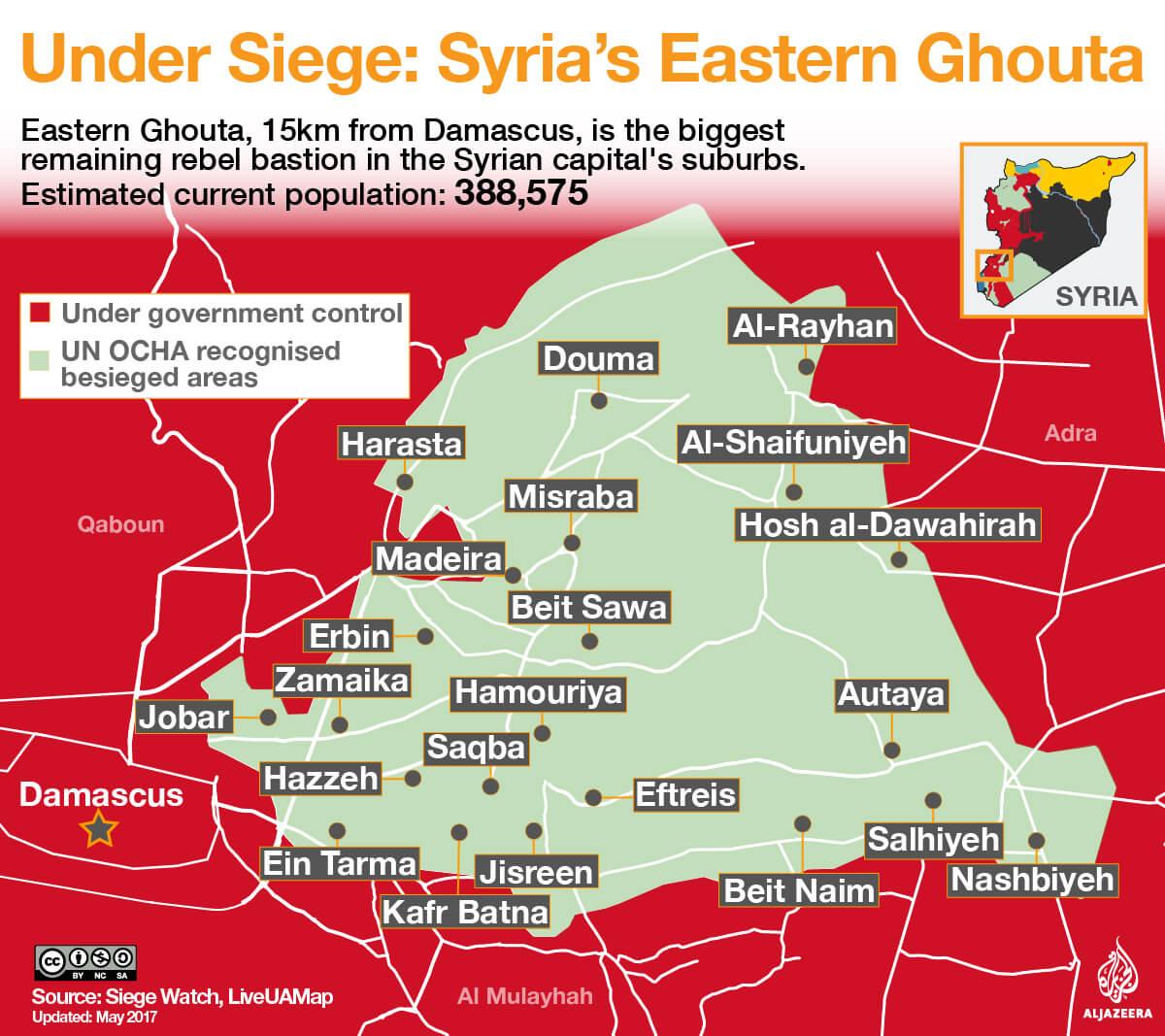 Mappa delle località assediate nella Gouta orientale (Damasco). Credits to: Al Jazeera.