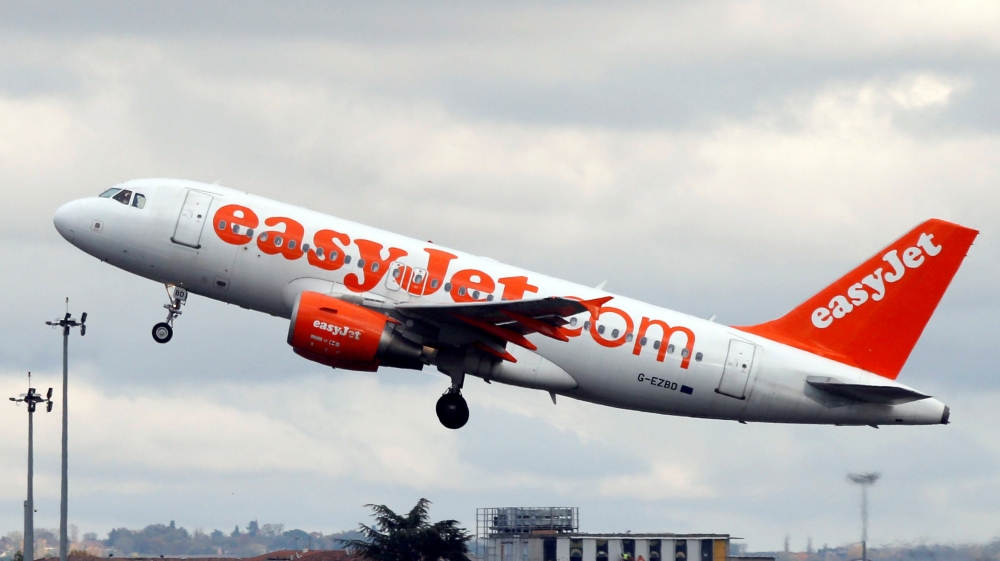 An EasyJet passenger aircraft makes its final approach for landing in Colomiers near Toulouse