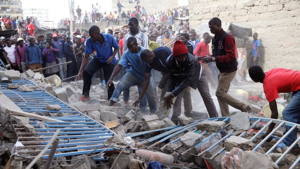 Rescuers search for survivors after a seven-storey building collapses in low-income residential area of Kenyan capital.