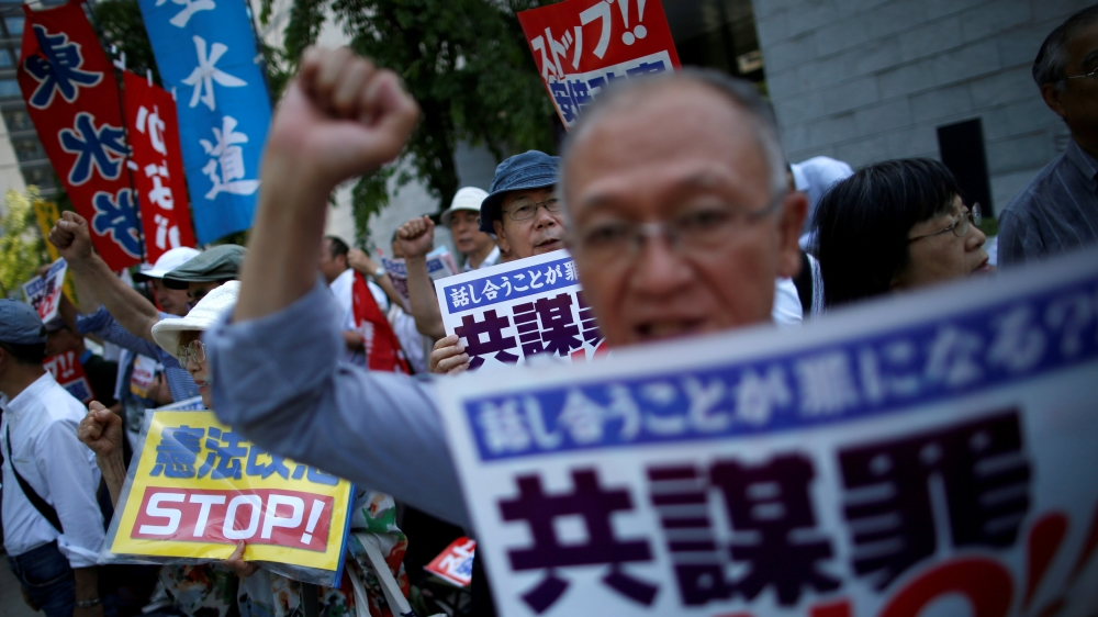 "Protests in Japan as anti-conspiracy bill passed ""to prevent terrorism before it happens"". The bill writes 277 new crimes into law, many of which are petty crimes such as copyright violations or stealing lumber from forests."