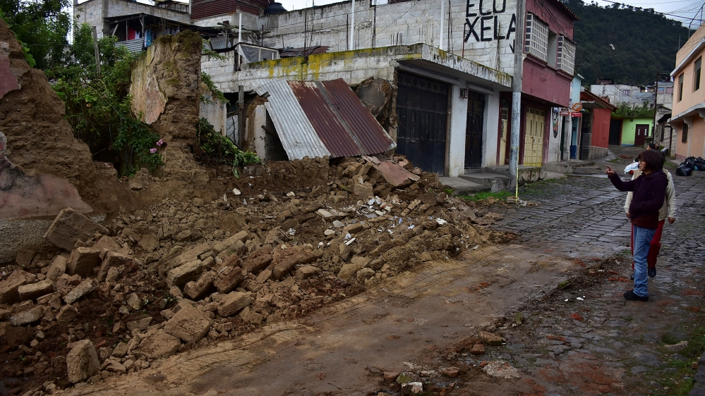 Various buildings made of mud and straw were collapsed as a result of the earthquake