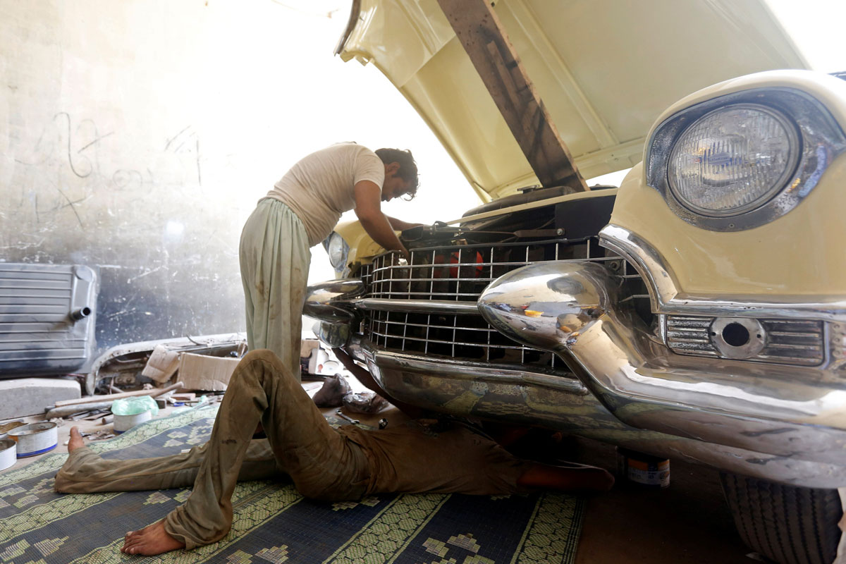 Enjoying Summer In Europe Or Keeping Cool South Asia Murdered Out 1955 Cadillac Its Only 41c Not Too Hot To Work On A Labour Of Love Convertible Is Currently Being Restored At The National Museum Karachi Pakistan