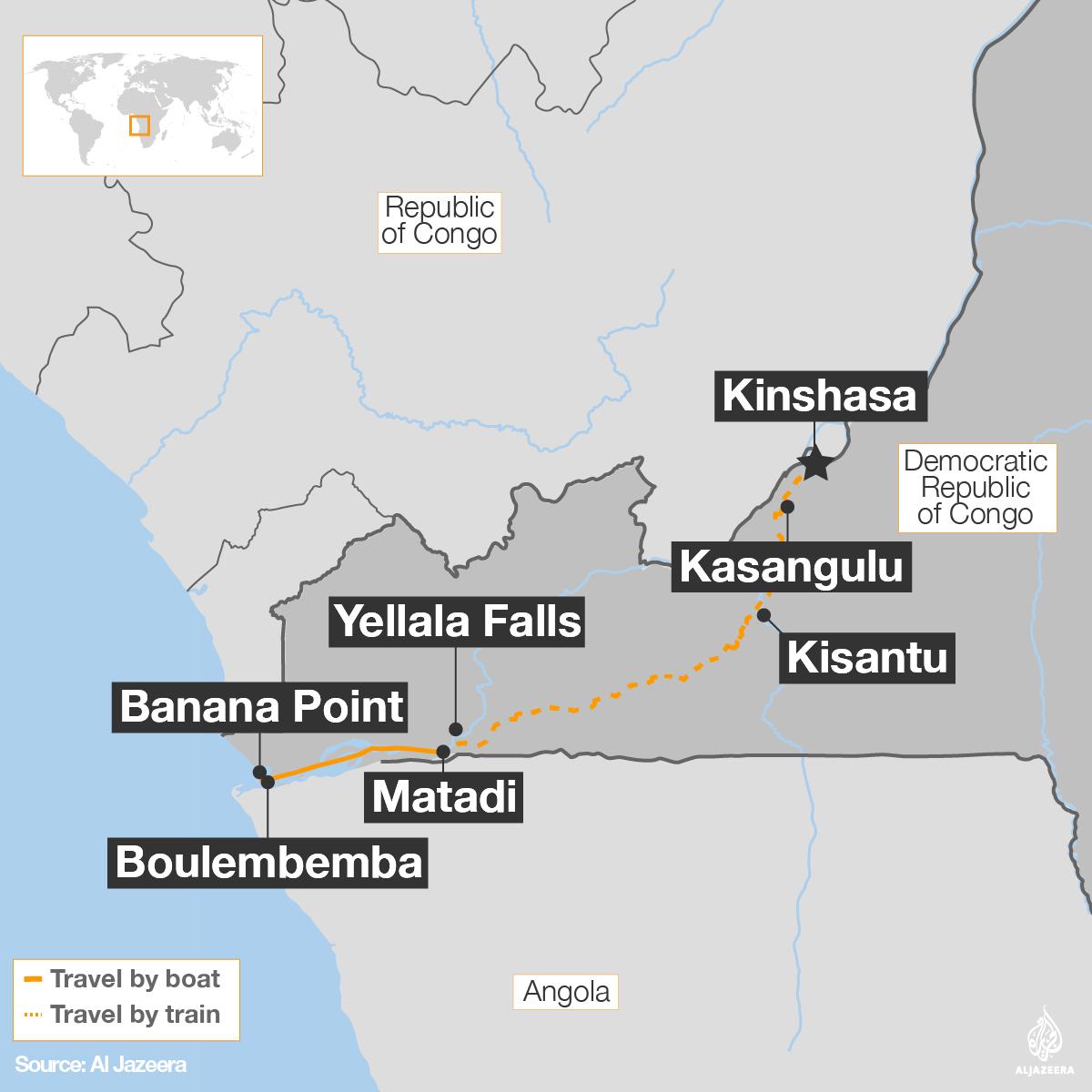 The Atlantic to Kinshasa: A journey on the River Congo   DR ... on congo river, addis ababa, africa map, kampala map, kuala lumpur map, nairobi map, mogadishu map, praia map, brazzaville map, cairo map, malabo map, kigali map, leopoldville map, maputo map, lagos map, abidjan map, cape town map, timbuktu map, congo map, dar es salaam, cape town, luanda map, freetown map, yaounde map,