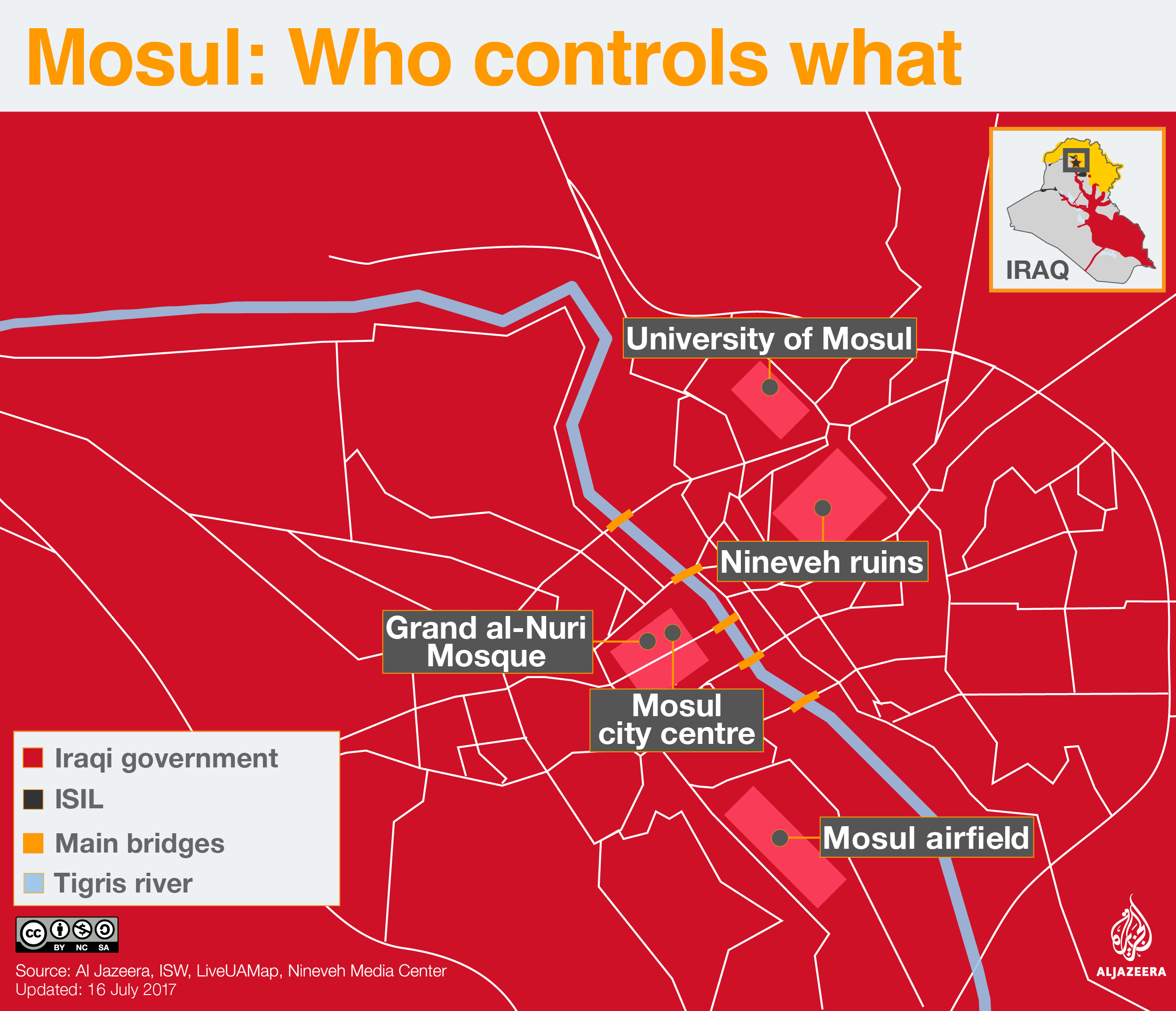 Mosul map detailed July 16