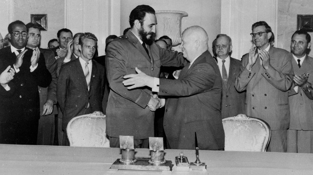 70c971d20faec Fidel Castro shakes hands with Soviet premier Nikita Khrushchev in Moscow  on May 23