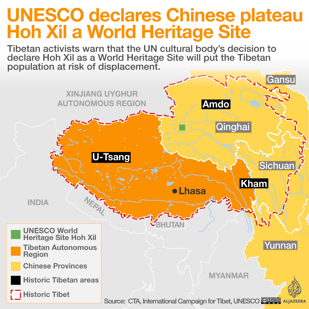 Unesco declares chinese plateau a world heritage site tibet al tibet world heritage site map gumiabroncs Image collections