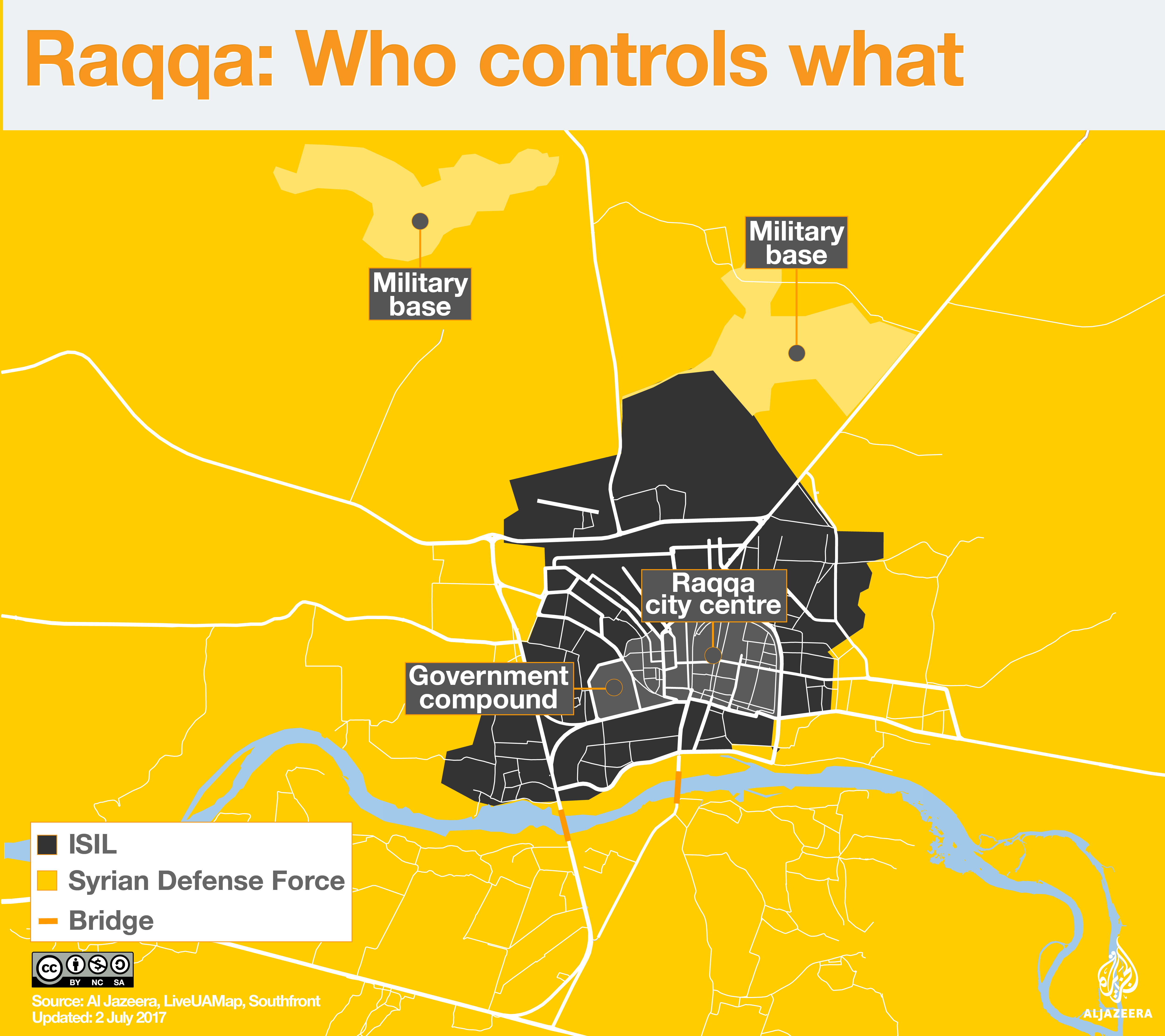 raqqa who controls what infographic map