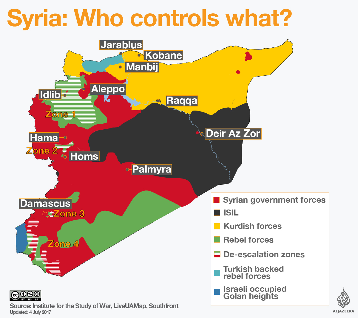 Syria De Escalation Zones Map Infographic