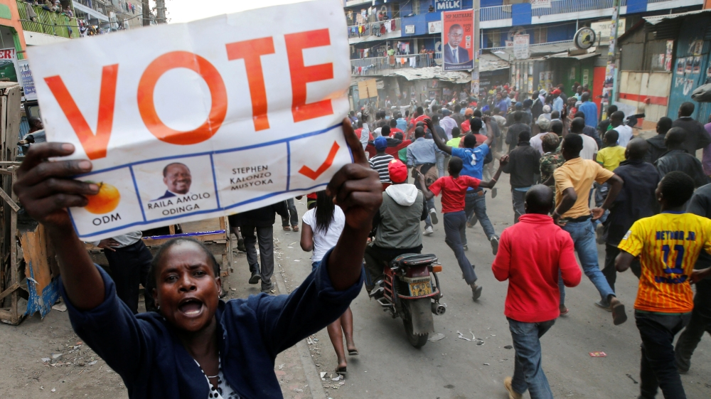 Opposition leader rejects presidential poll results alleging fraud, as yet another election in Kenya runs into trouble.