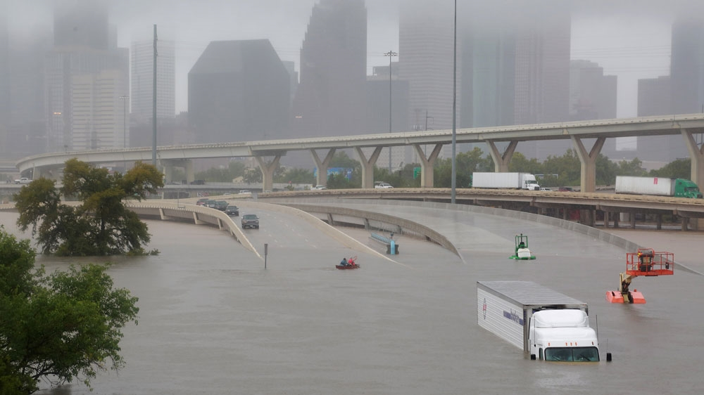 Some parts of the city of Houston the fourth biggest US city was fully submerged in the flooding that followed the storm