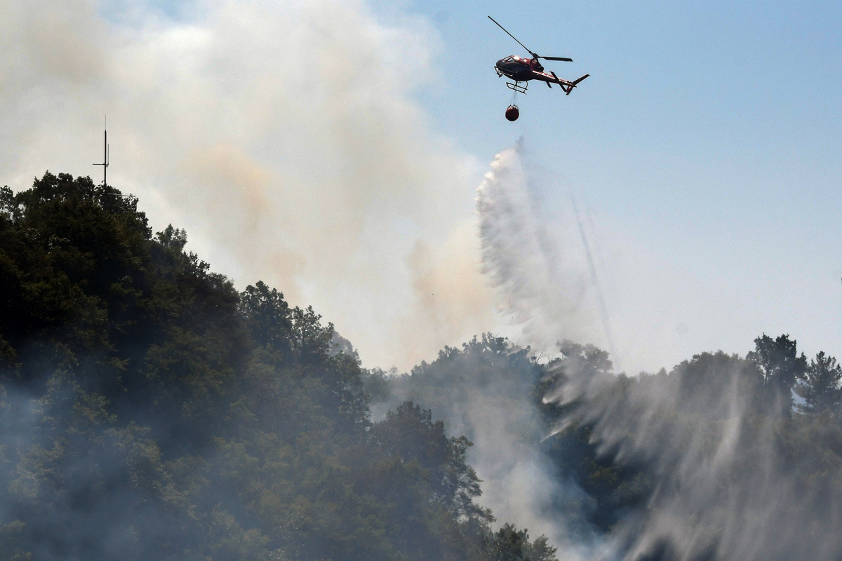Albania: High temperatures helped start a forest fire on Mount Dajti, east of Tirana. [Gent Shkullaku/AFP]
