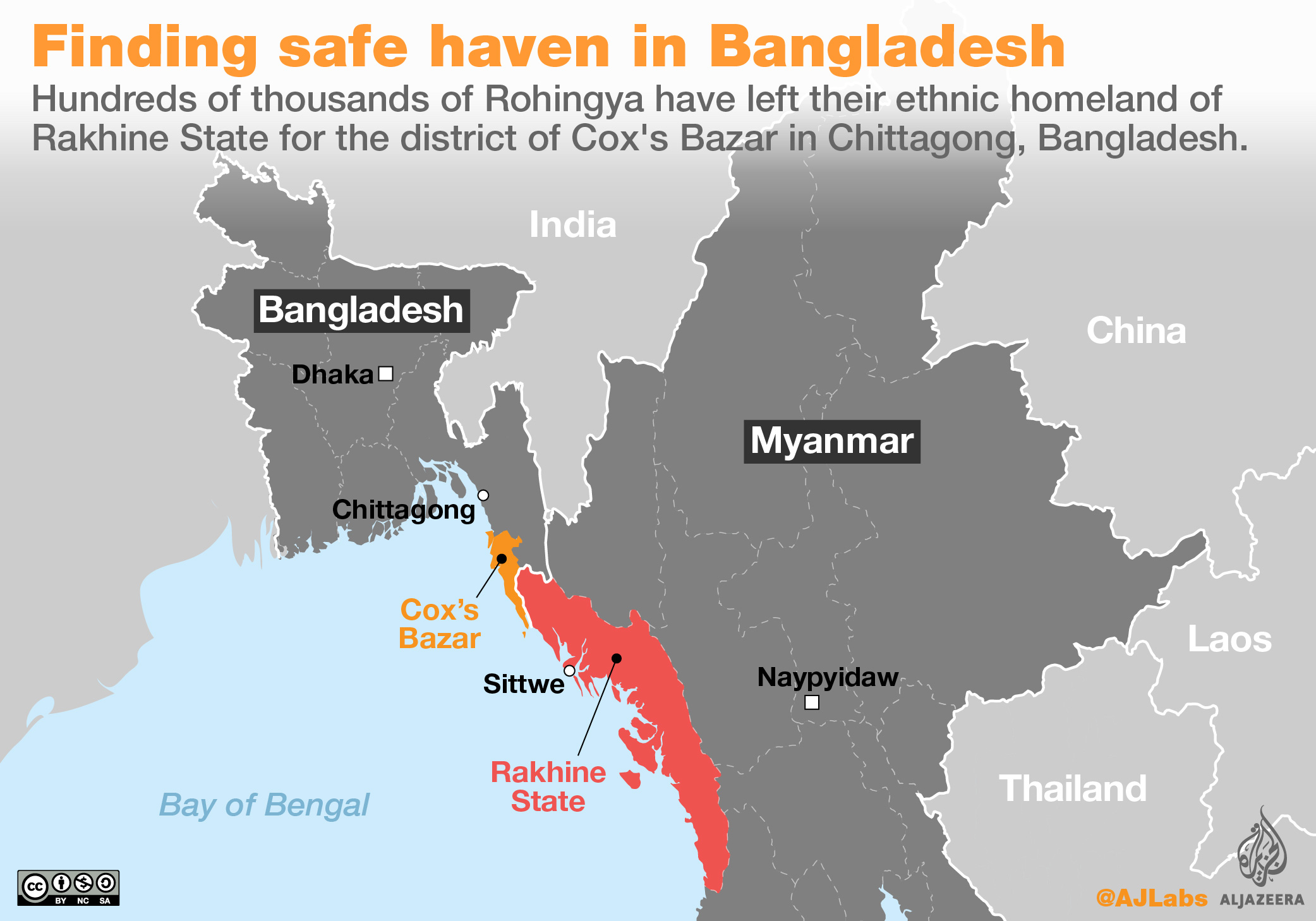 The Rohingya are stuck between two states that don't recognise them. Map from Al-Jazeera.