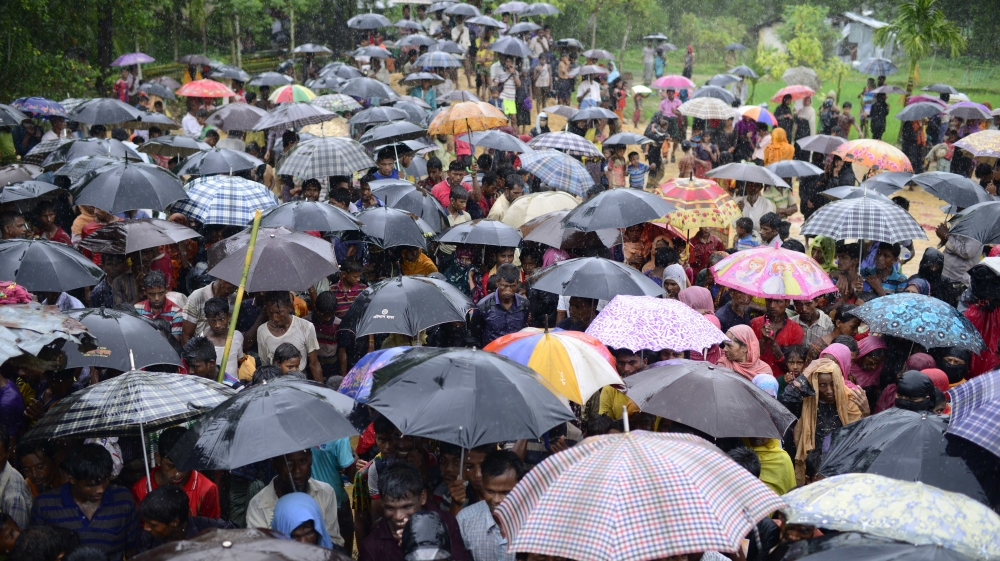 Torrential rain has added to the misery of the persecuted Rohingyas
