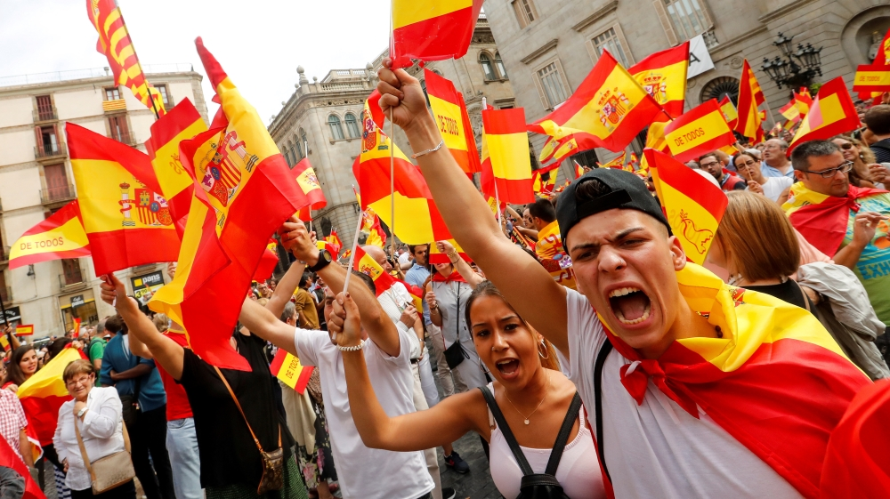 Demonstrators in Madrid attend a rally in favour of a unified Spain