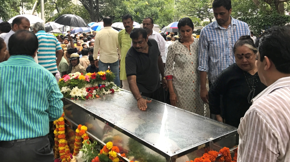 Lankesh was buried with full state honours at a cemetery in Bangalore