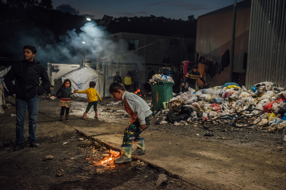 Some 350 unaccompanied minors and hundreds of children, women, elderly and disabled people live here. The so-called vulnerables still face delays of up to three months over their relocation to the mainland, which should take place sooner. [Kevin McElvaney/Al Jazeera]