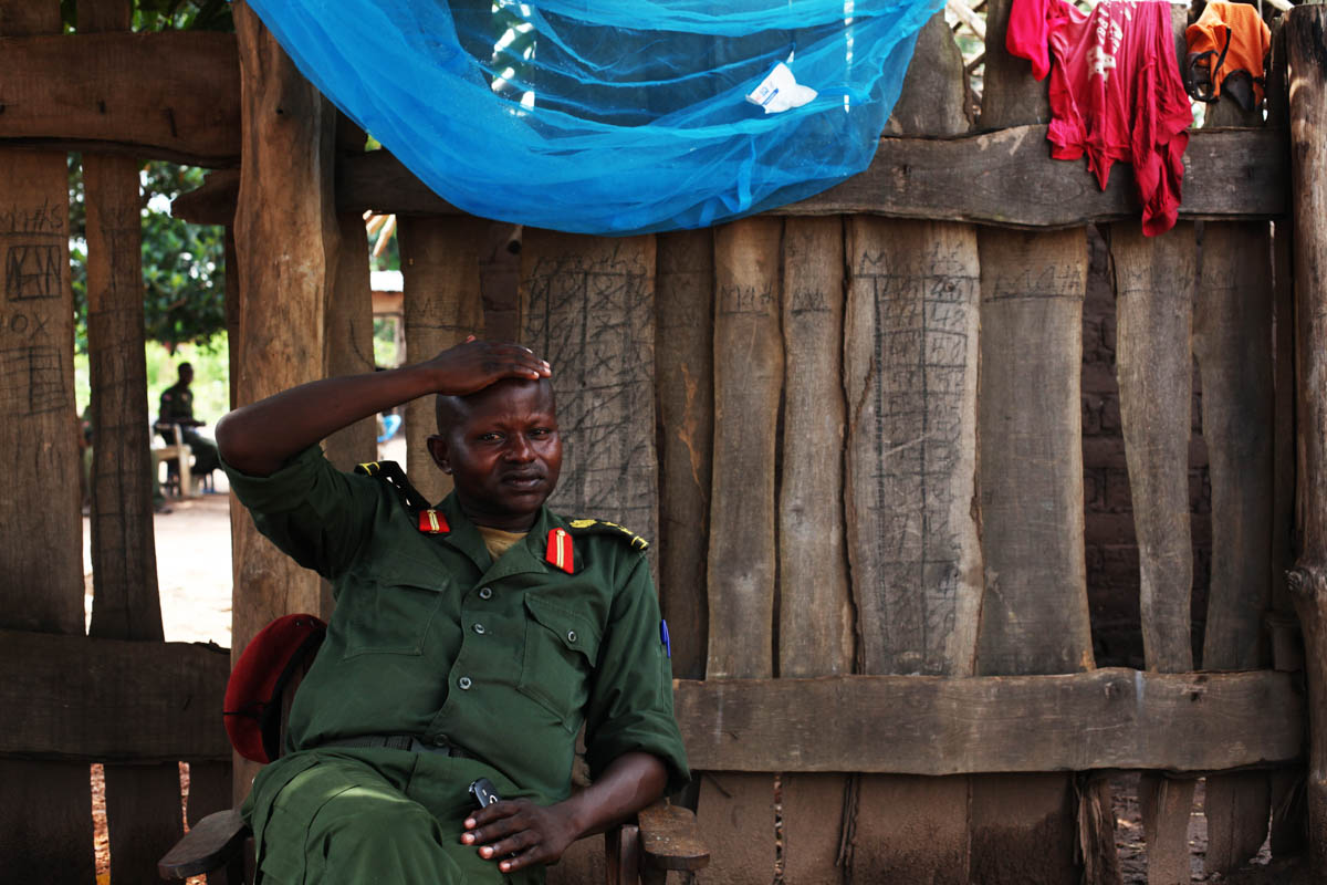 Former rebel commander Abel Matthew Mbarza, now part of the govenrment forces, at his compound in Yambio. According to the UN, there are still 19,000 children in armed forces in South Sudan, a number contested by the army. [Andreea Campeanu/Al Jazeera]