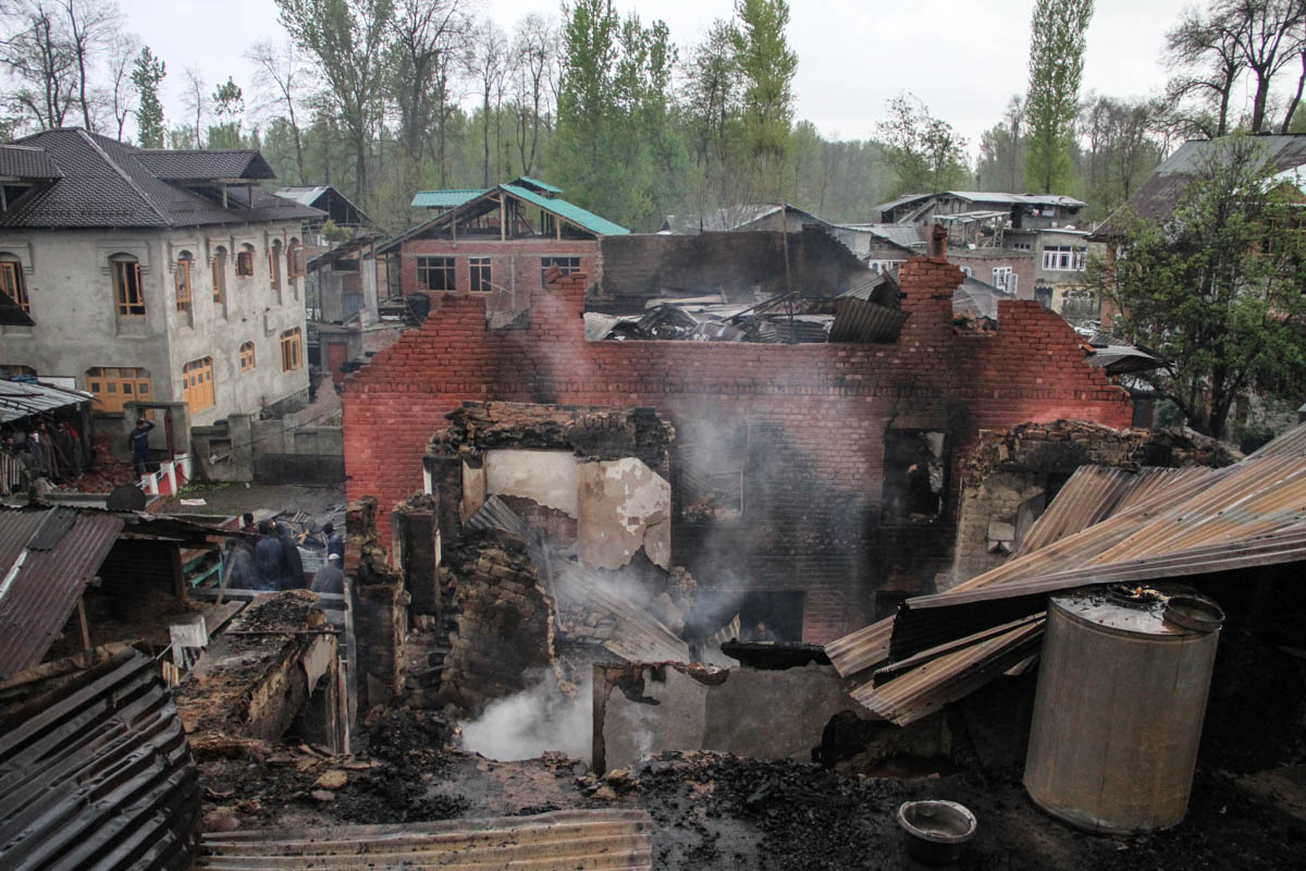 Locals allege this house in Khudwani area of South Kashmir was burnt down by the Indian security forces during an encounter in April. Four civilians were killed in the protest that followed. [Sameer Mushtaq/Al Jazeera]
