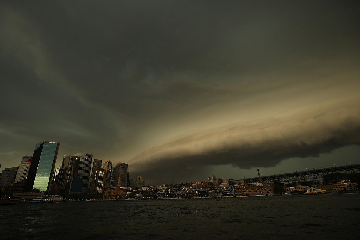 Severe weather was brewing for Sydney, Australia, but this shelf cloud made it all the more ominous. [Brendon Thorne/EPA]