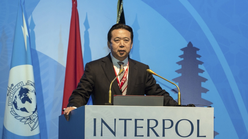 Interpol president's wife tells press conference she fears husband is in danger