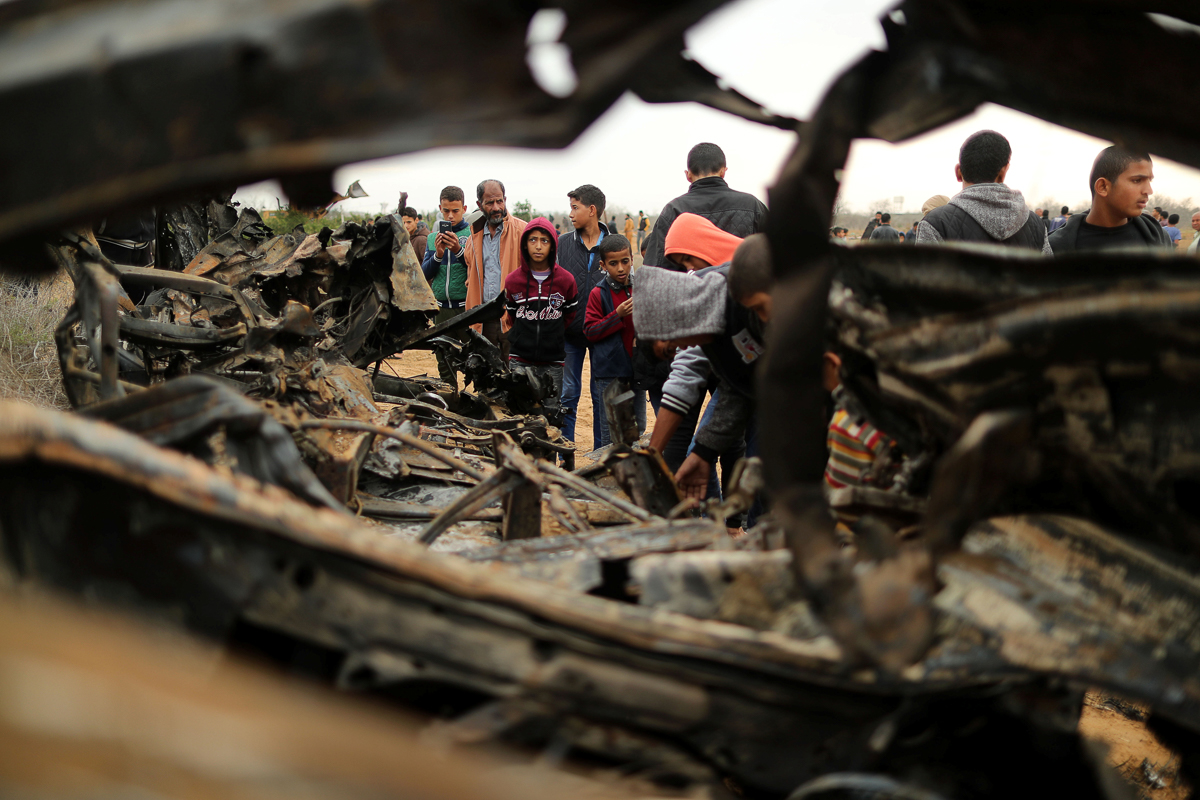 Witnesses said during the chase Israeli aircraft fired more than 40 missiles killing at least four other people. [Suhaib Salem/Reuters]