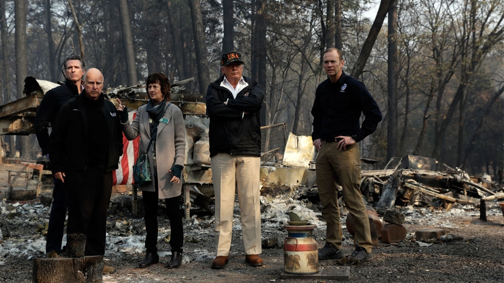 Donald Trump makes DEPLORABLE gaffe during visit to fire-ravaged Californian town