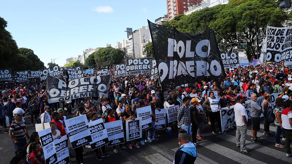 Members of social groups gather to protest against the Group 20 summit in Buenos Aires