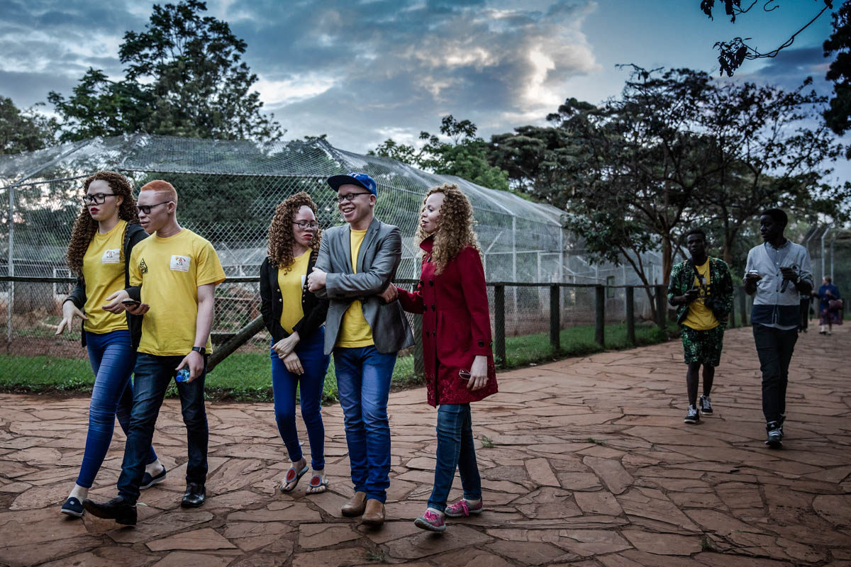 Contestants visiting a park in Nairobi during the boot camp prior to the Mr and Miss Albinism East Africa pageant in Kenya. [Luis Tato/Al Jazeera]