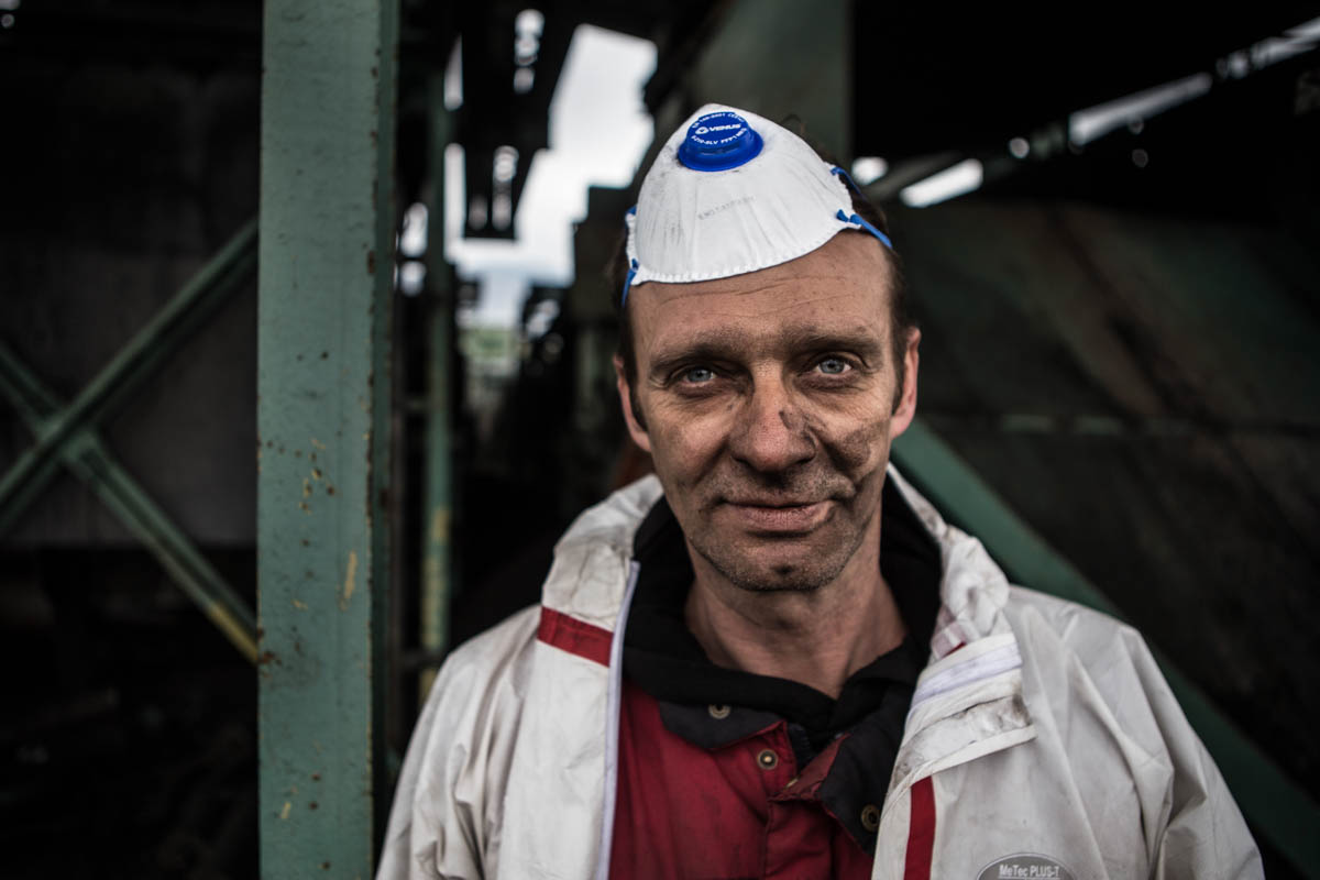 A worker at a mine in Western Macedonia. [Anna Pantelia/Al Jazeera]