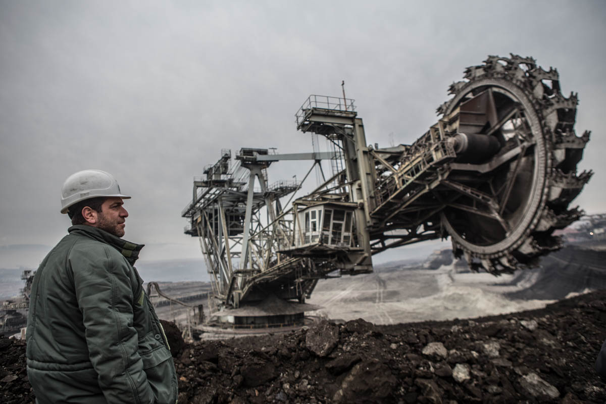 Kostas supervises the excavation of coal at the north field mine in Ptolemaida. [Anna Pantelia/Al Jazeera]