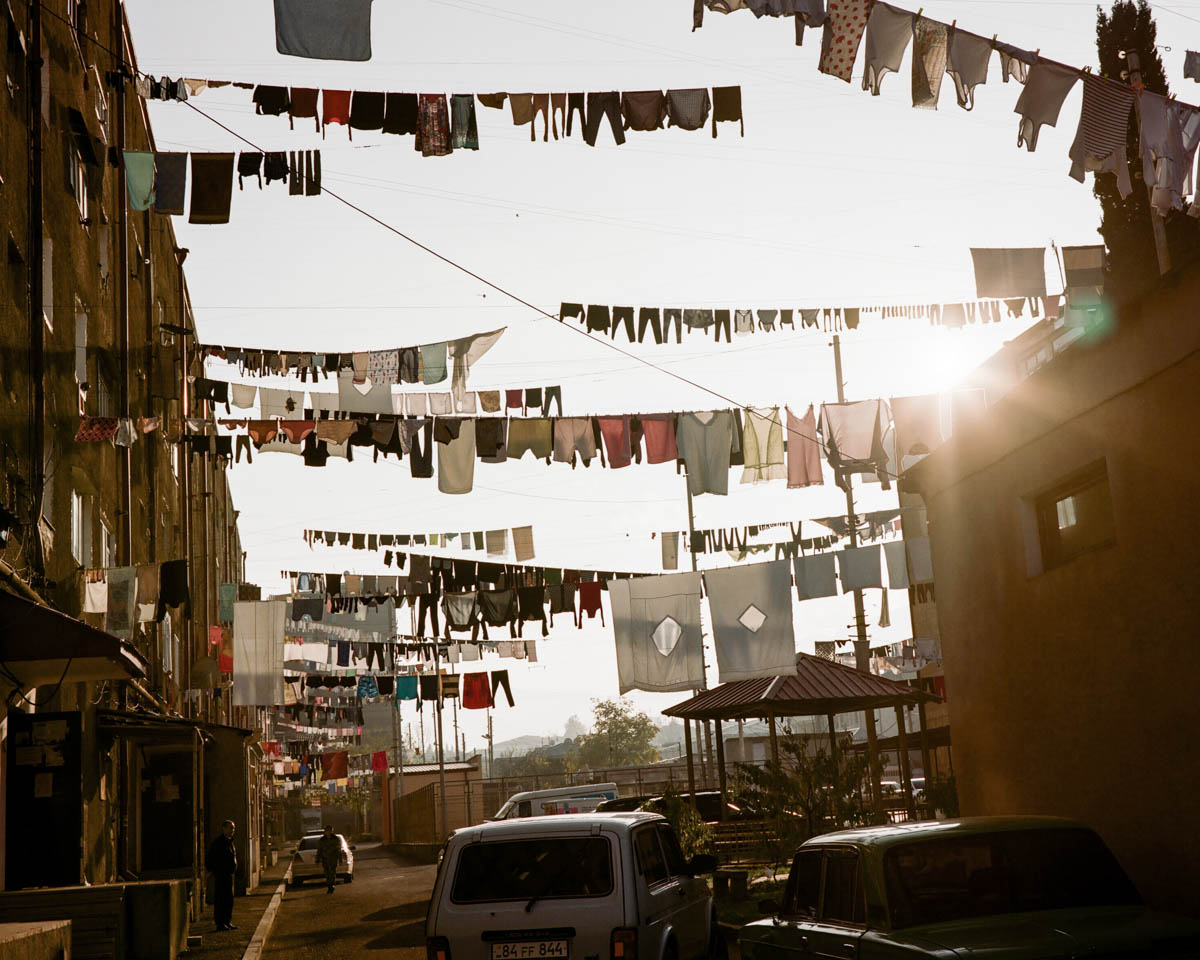 Washing lines in Stepanakert, the capital of Nagorno Karabakh. It's tradition here to hang laundry out every Sunday. Stepanakert is nestled deep inside the region, far away from the conflict. It has a population of about 55,000.[Gus Palmer/Al Jazeera]