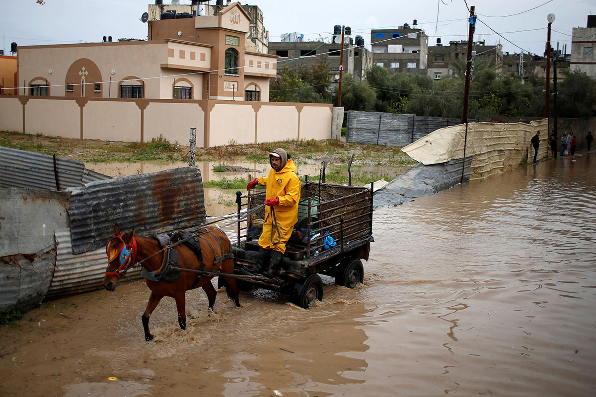 Beit Hanoun town in the northern Gaza Strip after the most active of the winter's rain storms. [Mohammed Salem/Reuters]