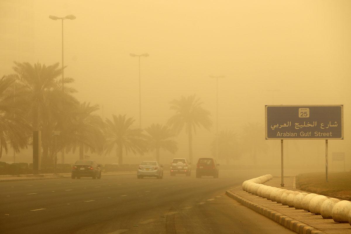 The wind swirls at 85km per hour in Kuwait. [Yasser al-Zayyat/AFP]