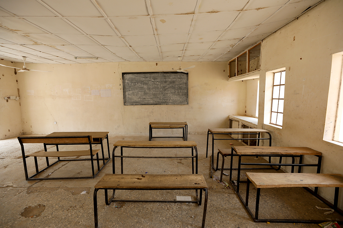 A classroom at the Government Science and Technical College where 110 girl are believed to be abducted by suspected Boko Haram fighters. [Afolabi Sotunde/Reuters]