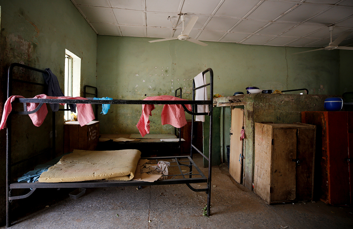 Some pieces of student clothing and a mattress inside student accommodation at the Government Girls Science and Technical College in Dapchi.[Afolabi Sotunde/Reuters]