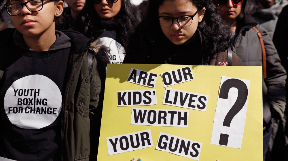 Under the banner #NeverAgain students demand stricter gun control