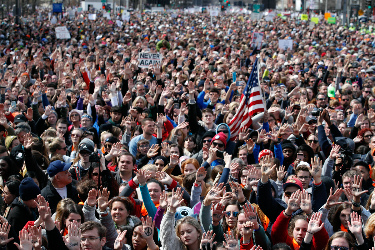 People fill Pennsylvania Avenue during the March for Our Lives rally in support of gun control in Washington, DC. [Alex Brandon/AP Photo]