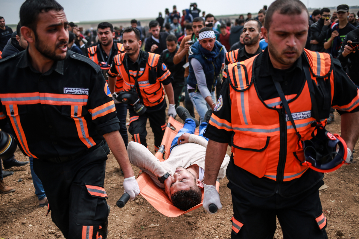 More than 1,000 demonstrators were wounded by Israeli snipers during the protest. [Hosam Salem/Al Jazeera]