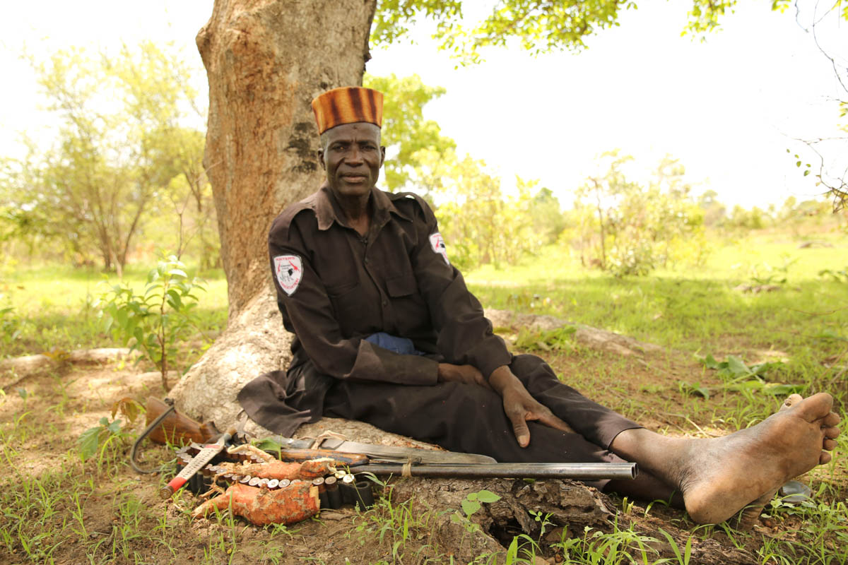 Bukar Jimeta was Aisha's commander. A hugely respected hunter, he helped authorities track criminals and insurgents in Sambisa Forest for three decades until he was ambushed and killed by Boko Haram in July 2017. [Rosie Collyer/Al Jazeera]