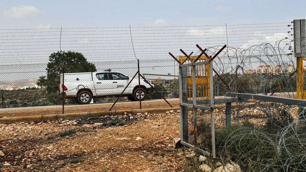 A view of the electric separation fence in Salfit which Israeli security forces constantly patrol