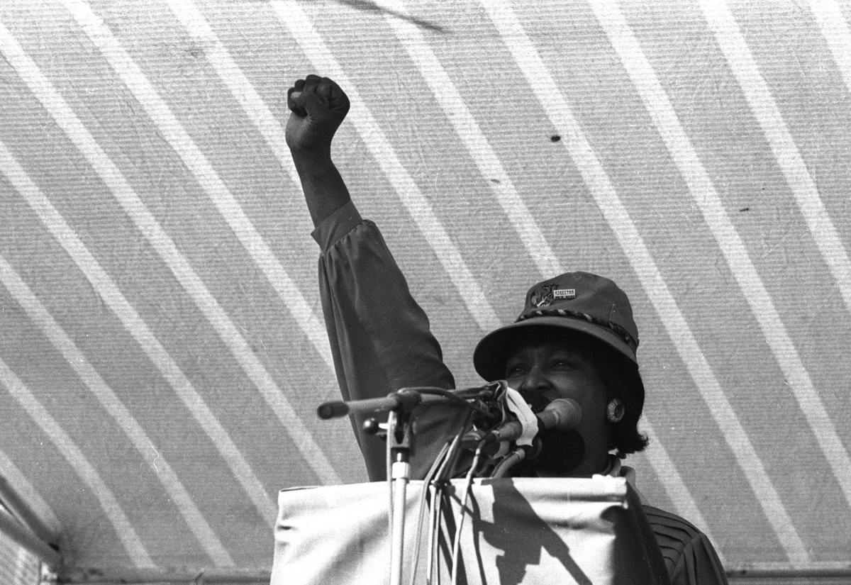 Mandela speaking at a 1990 ANC rally in Khayelitsha. [Oryx Media Archive/Gallo Images/Getty Images]