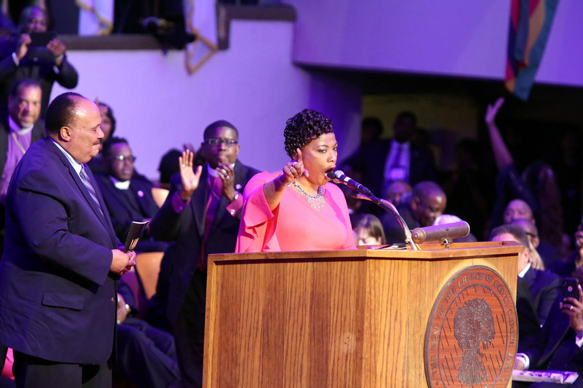 Dr Bernice King, daughter of MLK, speaks inside Mason Temple COGIC, the site of her father's s prophetic 'I've been to the Mountaintop' speech, during events surrounding the 50th anniversary of the death of civil rights leader Martin Luther King Jr. [Karen Pulfer Focht/Reuters]