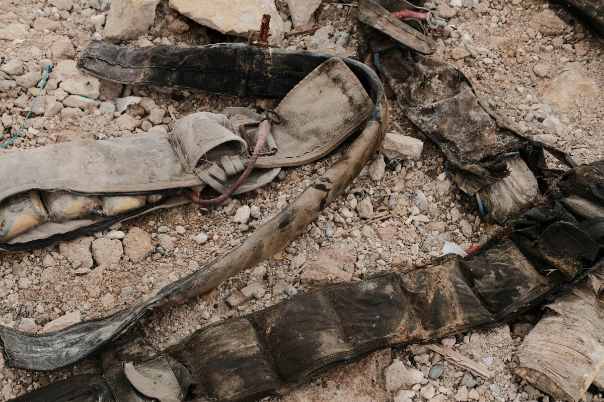 Suicide belts removed from the dead bodies of ISIL fighters. The mines and explosives left behind by ISIL are still a major threat in the city. Some estimates say it could take a decade before Mosul is cleared. [Vincent Haiges/Al Jazeera]