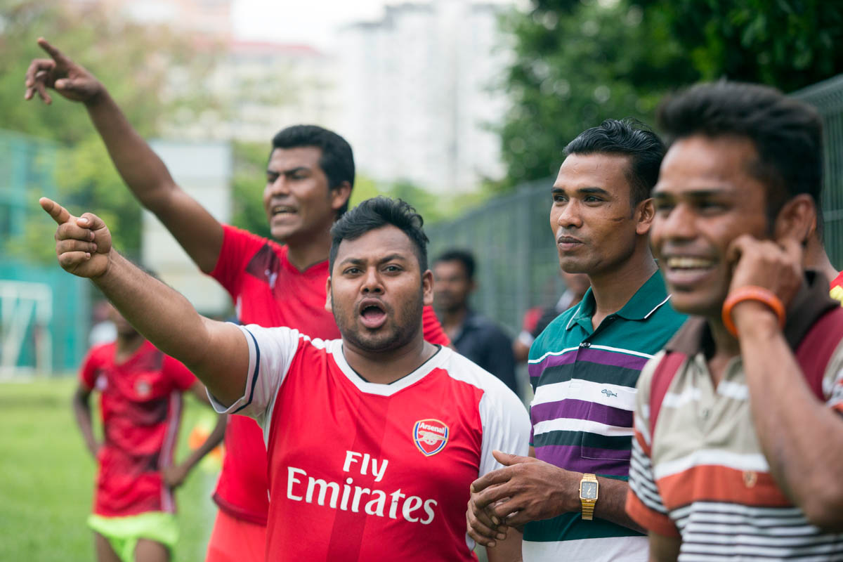 Spirits were high in both sets of supporters. Football is popular in the Rohingya communities in Malaysia, with more than 50 Rohingya football teams around the country. [Alexandra Radu/Al Jazeera]