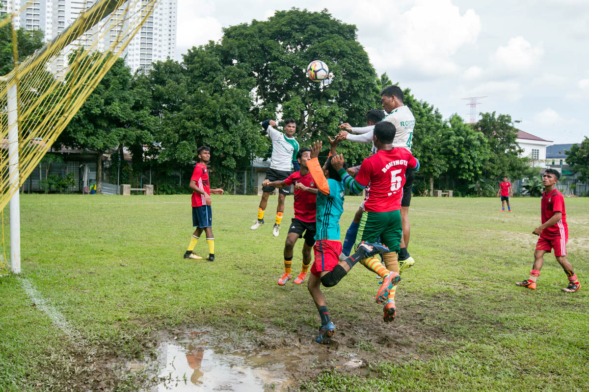 While the match ended in a 3-3 draw, players from both sides aimed to showcase their talent and gain recognition for the Rohingya community. [Alexandra Radu/Al Jazeera]