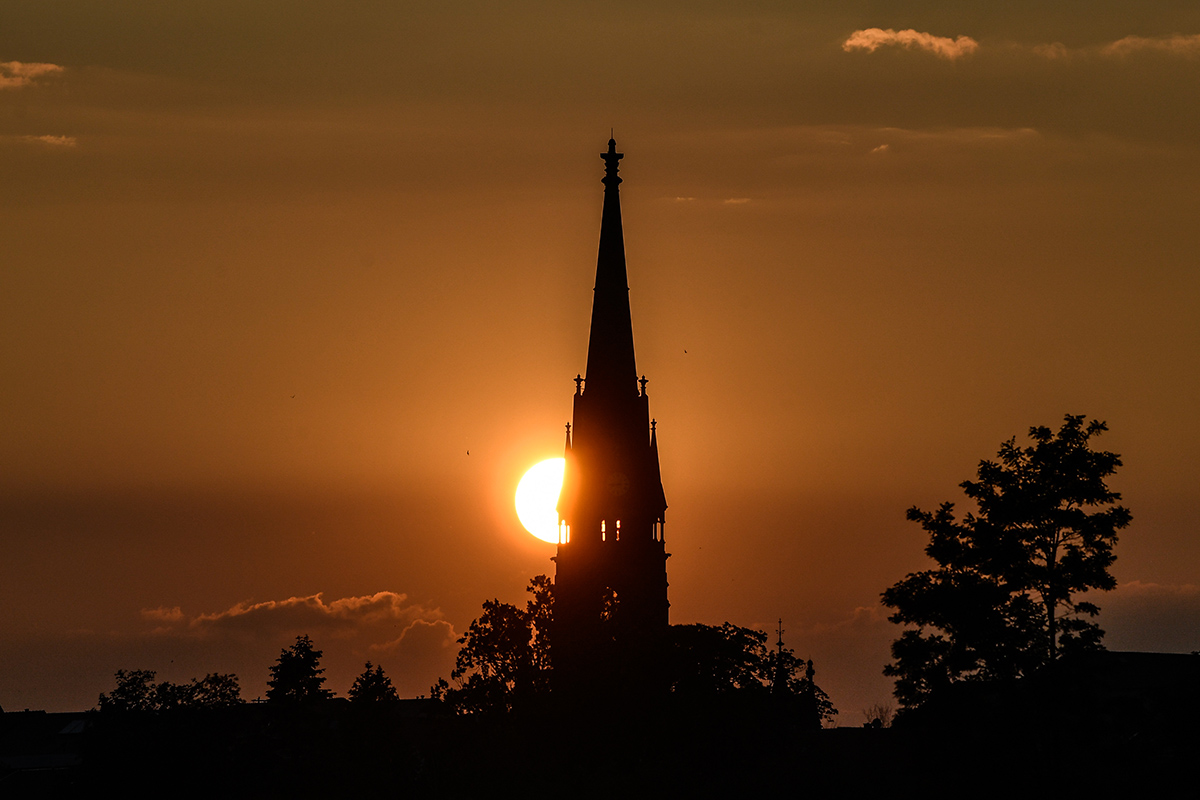 A sunset in Dresden. This May was the warmest in Germany since 1889 and comes after the warmest April since records began in 1881. [Filip Singer/EPA]